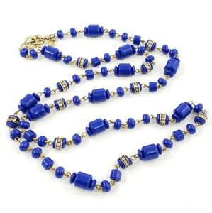 J. Crew sweater necklace royal blue barrel beads